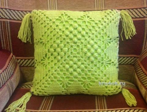 Чехол для подушки крючком. Работа Татьяны Ивановой вязание и схемы вязания