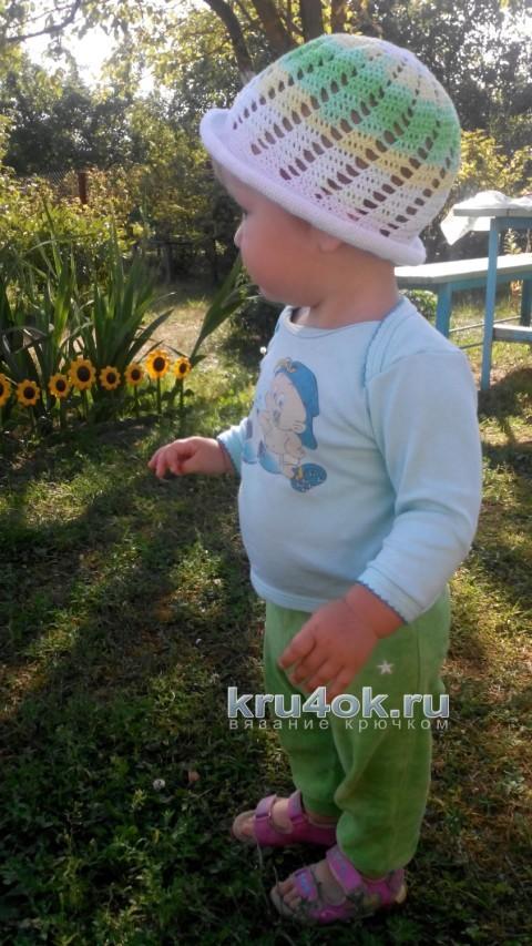 Детская шапочка крючком. Работа Натальи вязание и схемы вязания