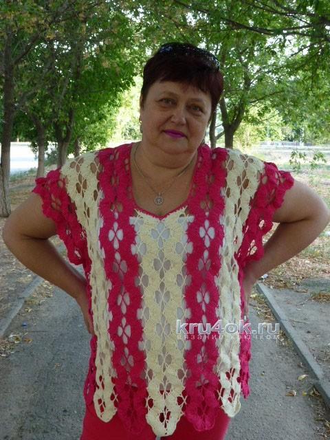 Кофточка крючком. Работа Елены вязание и схемы вязания