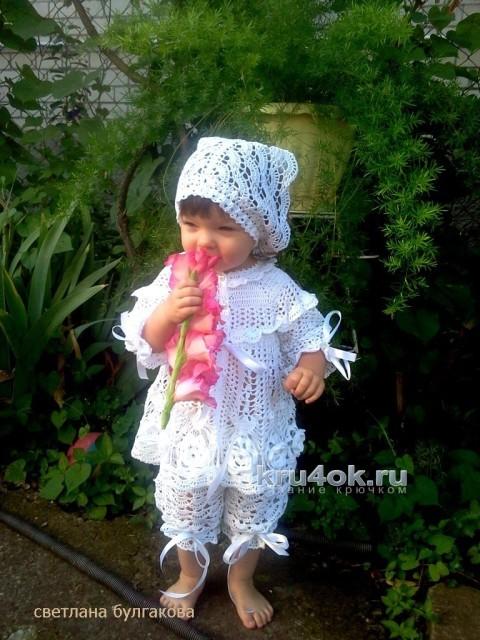Крестильный комплект для девочки вязание и схемы вязания
