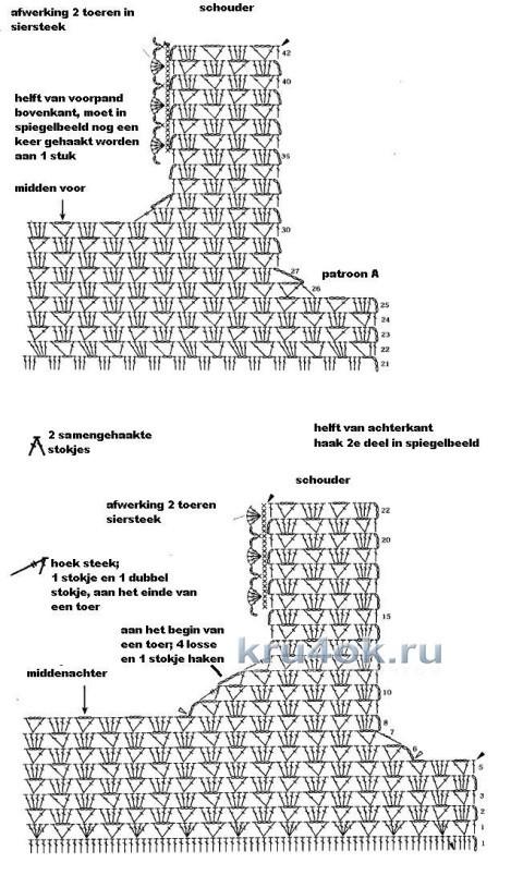 Летний топик крючком - работа Ирины вязание и схемы вязания