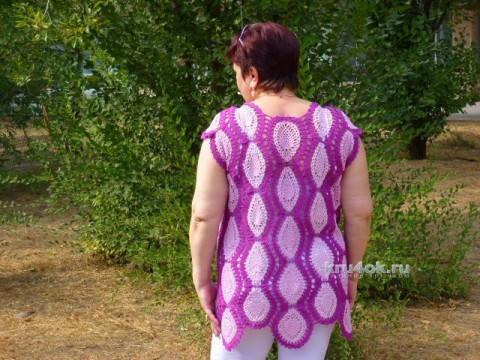 Летняя кофточка крючком. Работа Елены Плаксиной вязание и схемы вязания