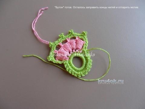 """Мотив """"Бутон"""" для ирландского кружева. МК вязание и схемы вязания"""