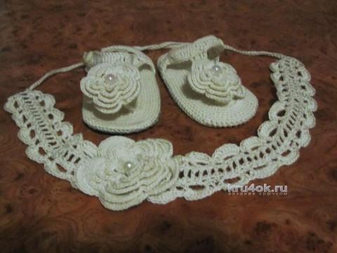 Пинетки и повязка для малыша. Работы Яны вязание и схемы вязания