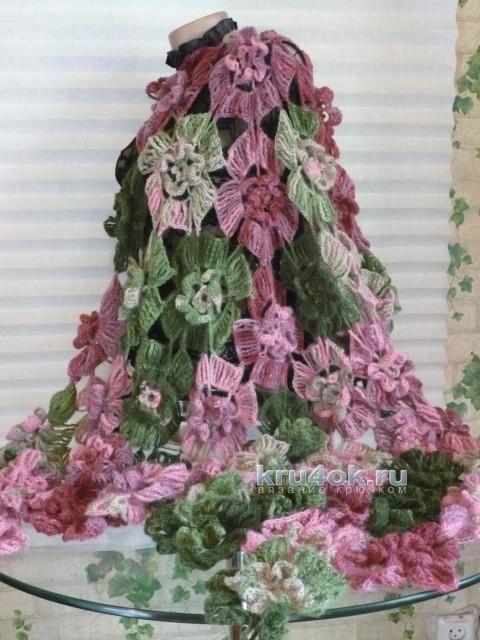 Вязаная шаль Орхидея. Работа Светланы вязание и схемы вязания