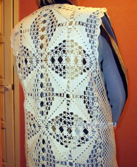 Вязаный крючком жилет. Работа Любови вязание и схемы вязания