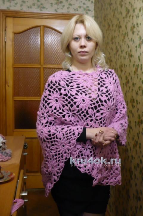 Ажурное вязаное пончо Ромашка от Светланы Клименко
