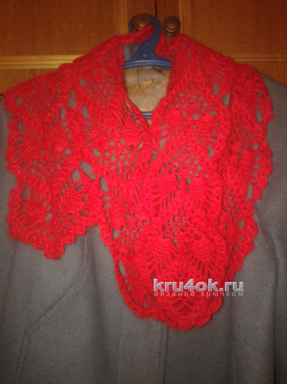 Схема вязания ажурного шарфика крючком