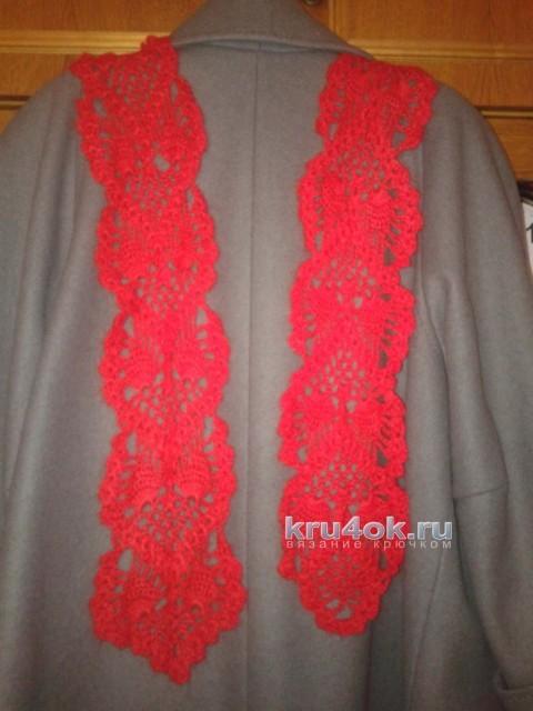 Ажурный шарфик. Работа Галины Коржуновой вязание и схемы вязания