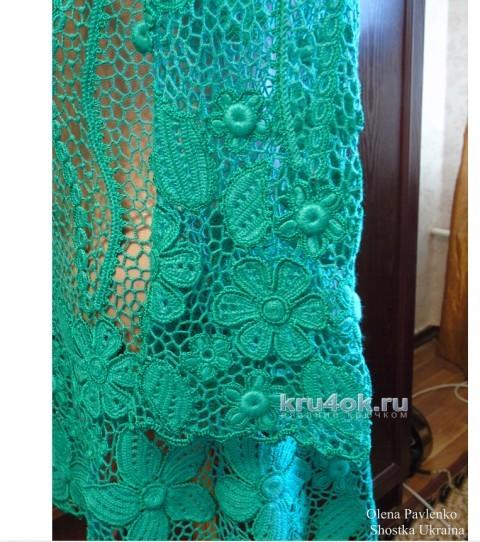Блуза изумрудный букет. Работа Елены Полевик вязание и схемы вязания
