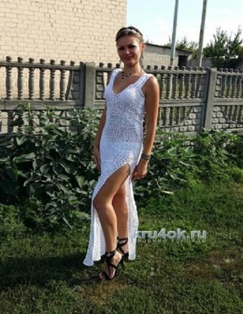 Длинное платье из мотивов. Работа Елены Ворожко вязание и схемы вязания