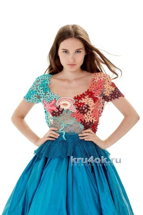 Комбинированное платье. Работа Людмилы Максютовой вязание и схемы вязания