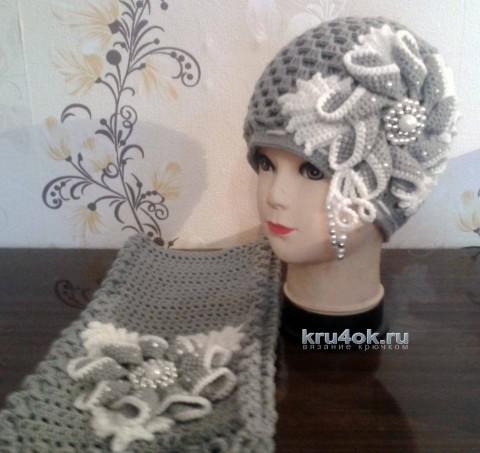 Шапка и шарф для девочки. Работы Люси вязание и схемы вязания