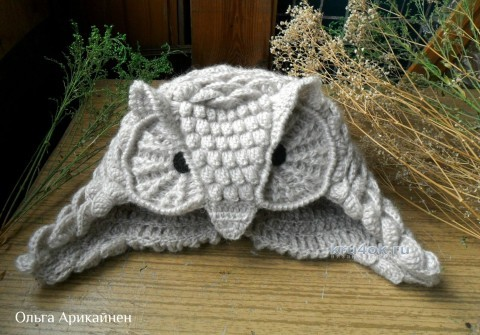 Шапочка - сова. Работа Ольги Арикайнен вязание и схемы вязания
