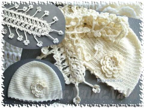 Шапочка и шарфик ажурный для девочки