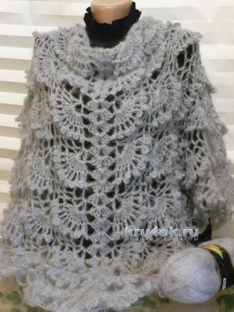 Вязаная накидка Нежность. Работа Светланы Клименко вязание и схемы вязания