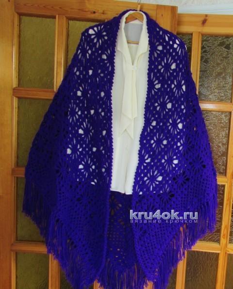 Вязаная шаль Хризантема. Работа Светланы вязание и схемы вязания