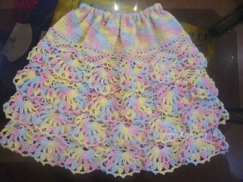 Вязаная юбка для девочки. Работа Татьяны вязание и схемы вязания