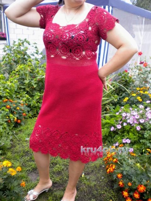 Вязаное крючком платье. Работа Ирины вязание и схемы вязания