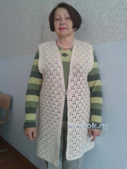 Вязаный крючком жилет. Работа Анны Александровны вязание и схемы вязания