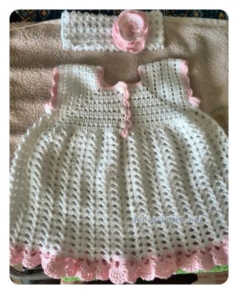 Крестильное платье крючком. Работа Елены вязание и схемы вязания
