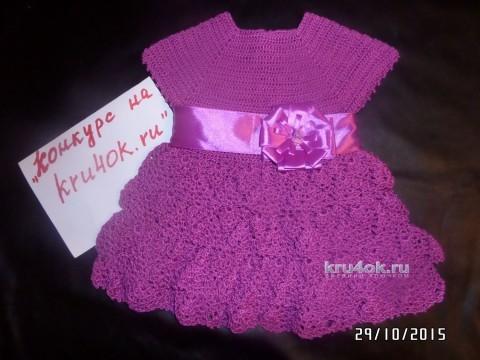Платье для девочки крючком. Работа Натальи вязание и схемы вязания