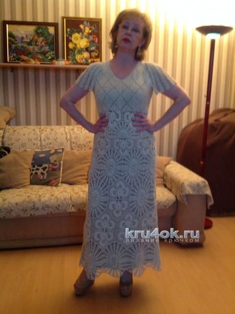Платье крючком. Работа Марии вязание и схемы вязания