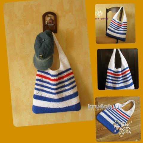 Вязаная сумочка из капронового шнура. Работа Ольги Павловой вязание и схемы вязания