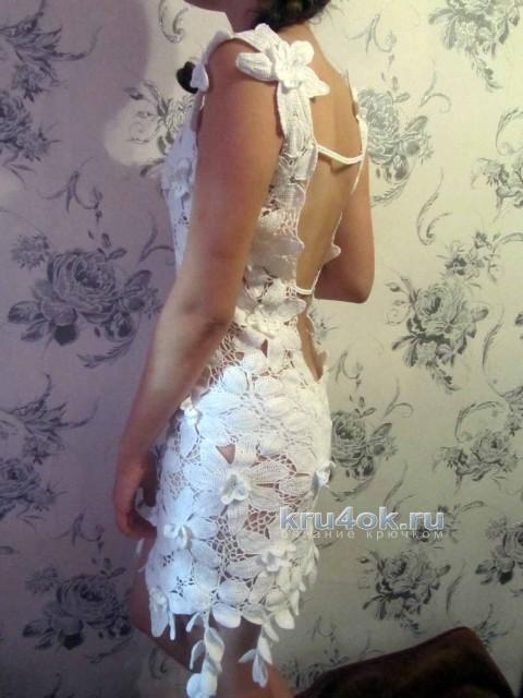 Вязаное платье. Работа Людмилы вязание и схемы вязания