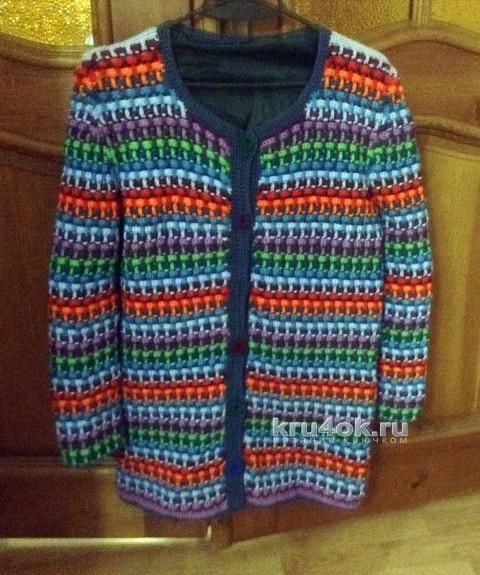 Вязаный крючком кардиган. Работа Ирины вязание и схемы вязания