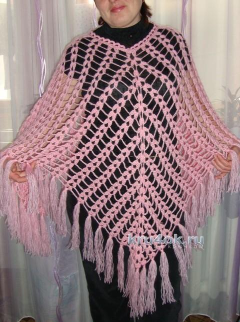 Ажурное пончо. Работа Ольги вязание и схемы вязания