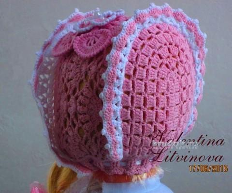 Детский капор крючком. Работа Валентины Литвиновой вязание и схемы вязания
