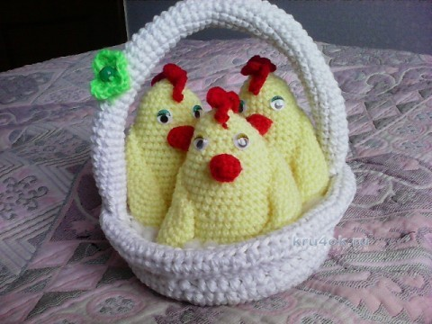 Игрушка цыпленок. Работа Анны вязание и схемы вязания