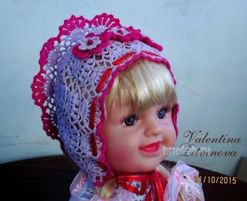 Капор для девочки. Работа Валентины вязание и схемы вязания