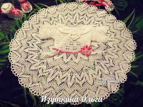 Крестильный набор для девочки. Работа Ольги Изуткиной вязание и схемы вязания
