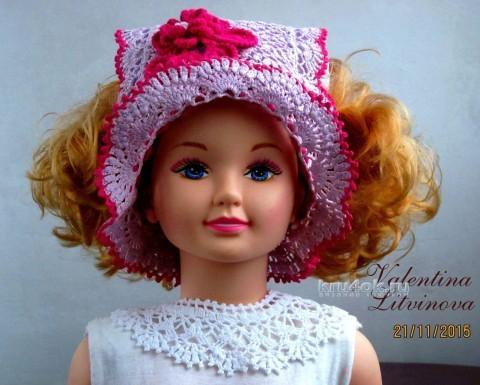 Летняя шапочка для девочки. Работа Валентины Литвиновой вязание и схемы вязания