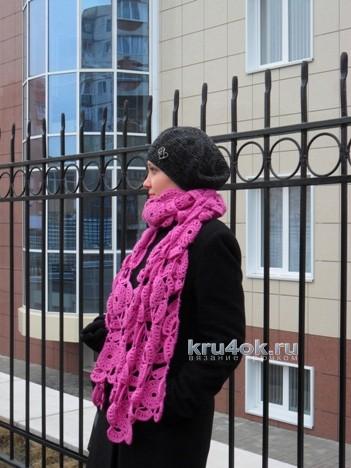 Лиловый палантин крючком. Работа Светланы Шевченко вязание и схемы вязания