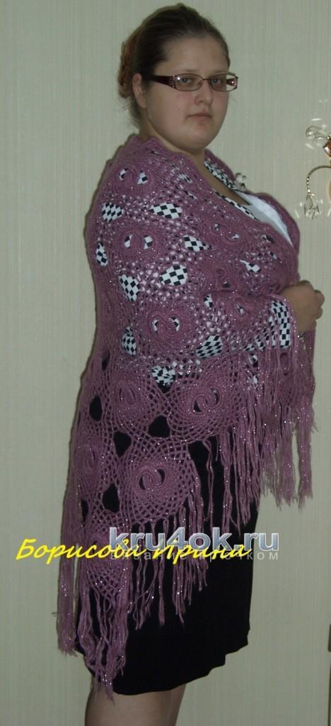Палантин крючком. Работа Ирины вязание и схемы вязания