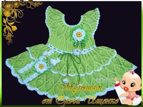 Платье Нежная ромашка. Работа Ольги Ищенко вязание и схемы вязания