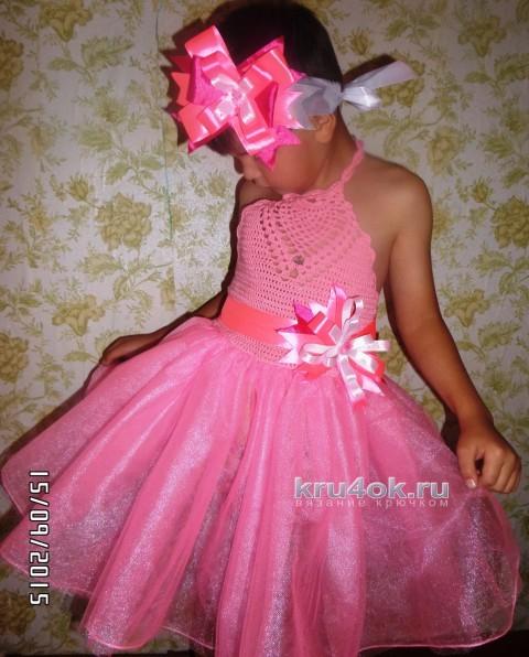 Праздничное платье для девочки. Работа Натальи вязание и схемы вязания