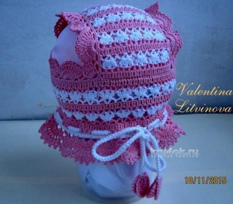Шапочка крючком. Работа Валентины Литвиновой вязание и схемы вязания
