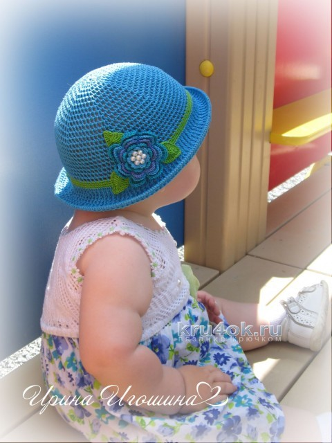 Шляпка - панамка для девочки. Работа Ирины Игошиной вязание и схемы вязания