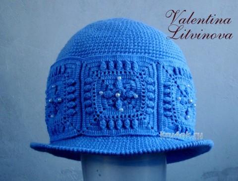 Шляпка зимняя крючком. Работа Валентины Литвиновой вязание и схемы вязания