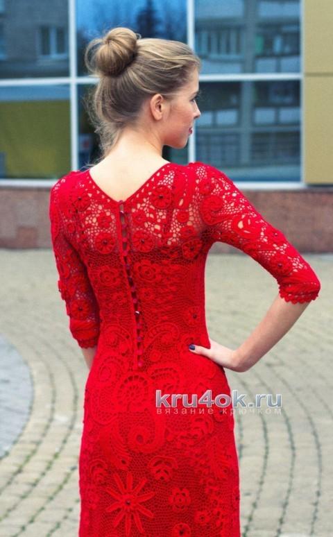 Вязаное крючком платье. Работа Людмилы Малиновской вязание и схемы вязания