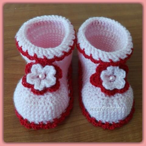 Вязаные пинетки для девочки. Работа Юлии Галецкой вязание и схемы вязания