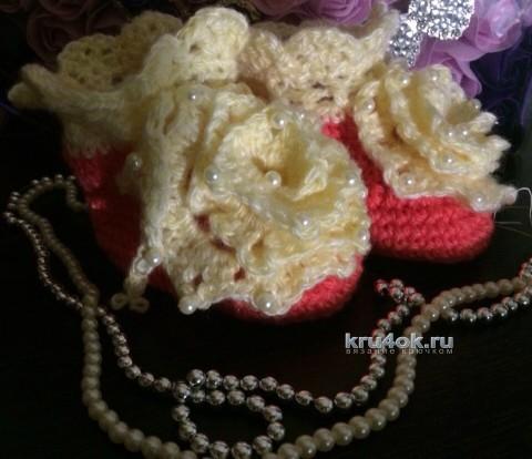 Вязаные пинетки. Работы Любови вязание и схемы вязания