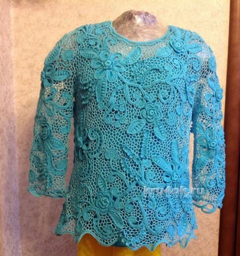Блуза в технике ирландского кружева. Работа Ирины вязание и схемы вязания