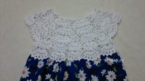 Детской платье комбинированное. Работа Татьяны Бажановой вязание и схемы вязания