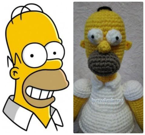 Гомер Симпсон крючком. Работа Ксении вязание и схемы вязания