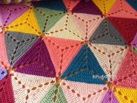 Плед из треугольных мотивов. Работа Светланы Шевченко вязание и схемы вязания